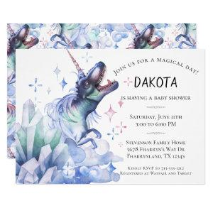 Dinocorn Crystal | Dinosaur Unicorn Baby Shower Invitation