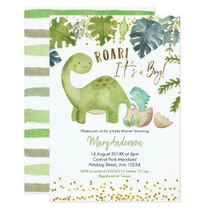 Dinosaur Baby Shower Invite Roar