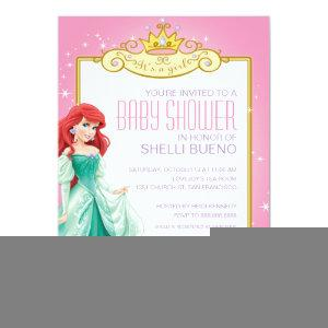 Disney Princess Ariel It's a Girl Baby Shower Invitation