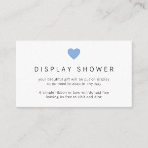 Display Shower Baby Boy Minimalist Blue Heart Enclosure Card