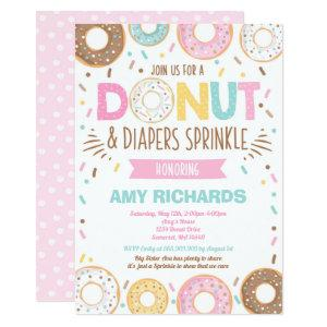 Donuts And Diapers Baby Sprinkle Invitation