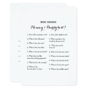 Double Side 2 Baby Shower Game- Advice | Who Knows Invitation