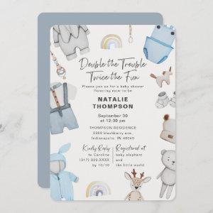Double the Trouble Clothes Twin Boys Baby Shower Invitation