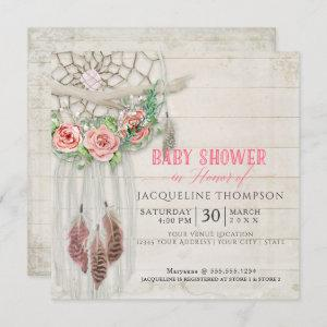 Dream Catcher Baby Shower Girl BOHO Wood Feather Invitation