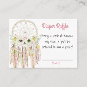 Dream Catcher Pink Baby Shower Diaper Raffle Enclosure Card