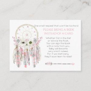 Dream Catcher Pink Gray Ivory Shower Book Request Enclosure Card