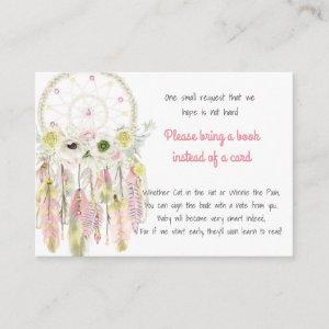 Dream Catcher Pink Yellow Baby Shower Book Request Enclosure Card