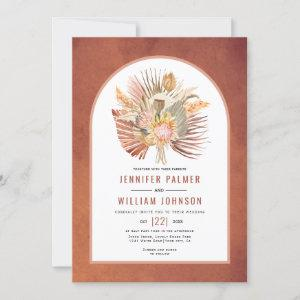 Dried palms and pampas grass terracotta wedding