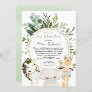 Drive-by baby shower cute animals greenery gold