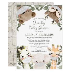 Drive by baby shower cute animals with masks invitation