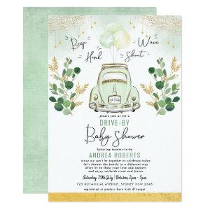 Drive By Baby Shower | Greenery Gold Retro Car Invitation
