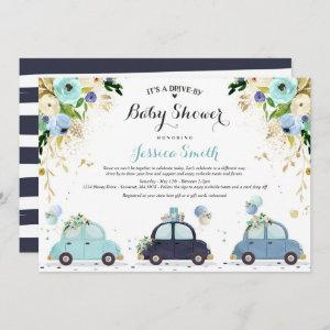 Drive By Baby Shower  Blue Floral Shower