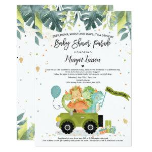 Drive By Baby Shower Invitation Dinosaur Shower