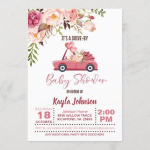Drive By Baby Shower Invitation - Girl