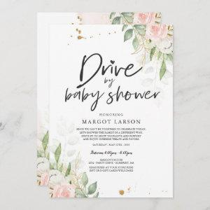 Drive By Baby Shower Invitation Greenery Pink Gold