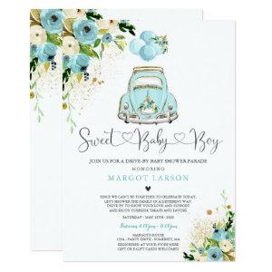 Drive By Baby Shower Invitation Mint Floral Shower