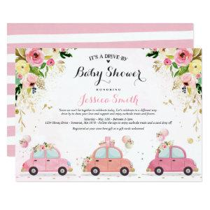 Drive By Baby Shower Invitation Pink Floral Shower