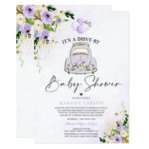 Drive By Baby Shower Invitation Purple Floral