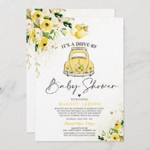 Drive By Baby Shower Invitation Yellow Floral