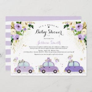Drive By Baby Shower Lilac Gold Floral Baby Shower