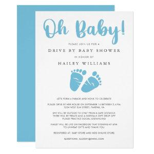 Drive By Baby Shower | Oh Baby Boy Blue Baby Feet Invitation