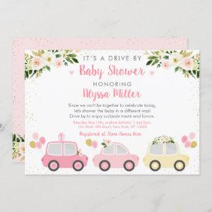 Drive By Baby Shower Pink Floral Invitation