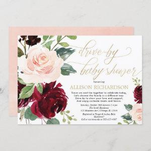 Drive by baby shower pink gold burgundy floral invitation
