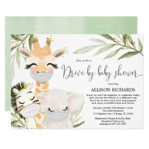 Drive-by baby shower safari animals gender neutral invitation