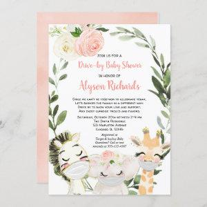 Drive-by baby shower safari animals pink greenery invitation