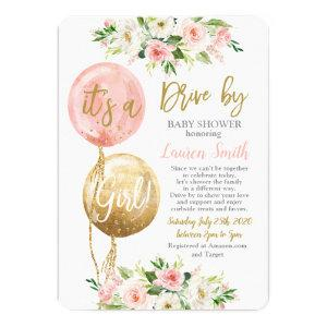 Drive by balloons baby shower girl invitation