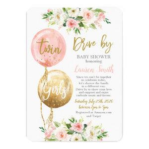 Drive by balloons baby shower twin girls invitation