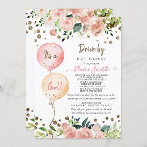 Drive by Balloons Pink Floral Girl Baby Shower Invitation