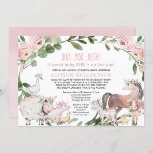 Drive by Farm Barnyard animals girl baby shower Invitation