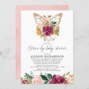 Drive-by girl butterfly blush pink burgundy floral invitation