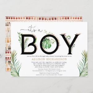 Drive-by It's a boy baby tribal jungle greenery Invitation