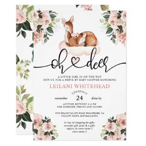 Drive By Oh Deer Baby Shower Watercolor Floral Invitation