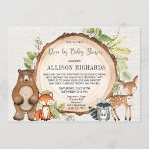 Drive by rustic woodland animals baby shower invitation