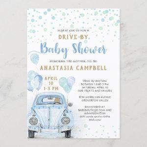 Drive Through Boy Baby Shower Blue Car Gold Invitation