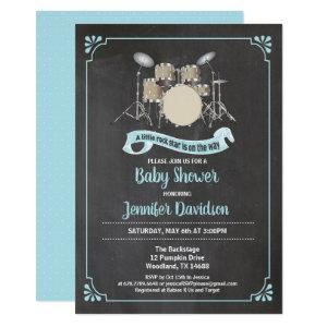 Drum set rockster baby shower invitation