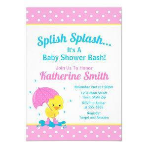 Duck Baby Shower Invitation Girl Pink