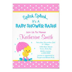Duck Girl Baby Shower Invitation 5x7 Card