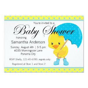 Ducky with Umbrella Baby Shower Invitation