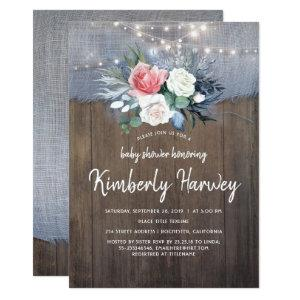 Dusty Blue and Blush Floral Rustic Baby Shower Invitation