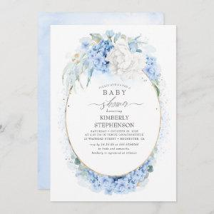 Dusty Blue and White Floral Baby Shower