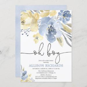 Dusty blue and yellow floral boy baby shower invitation