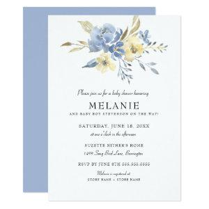 Dusty Blue Floral Baby Shower Invitation
