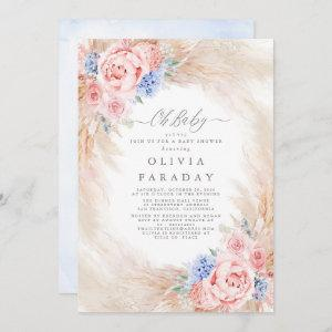 Dusty Blue Pink Flowers Pampas Grass Baby Shower
