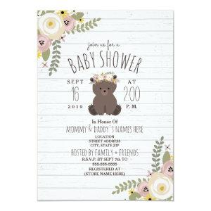Dusty Floral Boho Bear Gray Wood Baby Shower Invitation