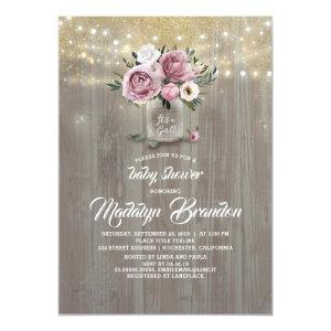 Dusty Rose Floral Mason Jar Rustic Baby Shower Invitation