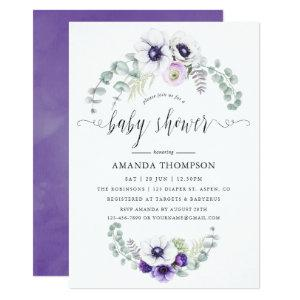 Dusty Violet Floral Baby Shower Invitation
